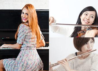 ピアノ講師バイオリンレッスン、フルートレッスンの様子
